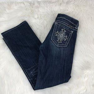 Miss Me Dark Blue Bootcut Rhinestone Cross Jean